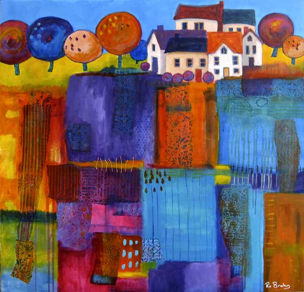Ro bruhn village fields acrylic paint and collaged for Acrylic painting on paper tips