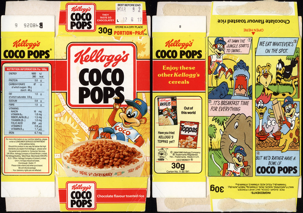 Uk Kelloggs Coco Pops Single Portion Cereal Box 199 Flickr