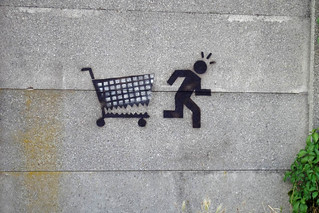 biting shopping cart