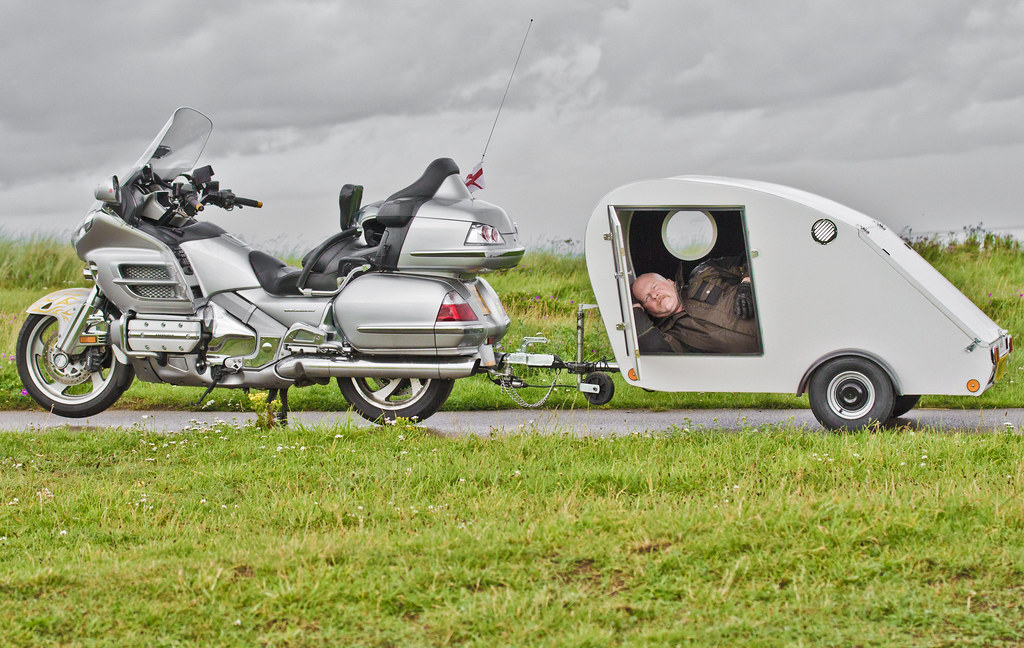 Motorcycle And Caravan Honda Gl1800 Goldwing Towing The