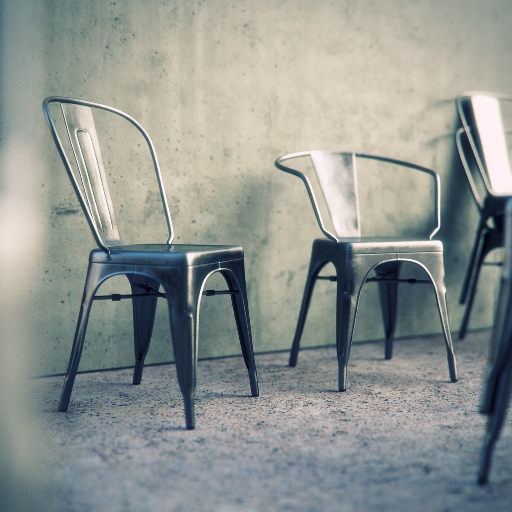 Tolix chairs modelled in 3ds max 2012 rendered in for Chair design 3ds max
