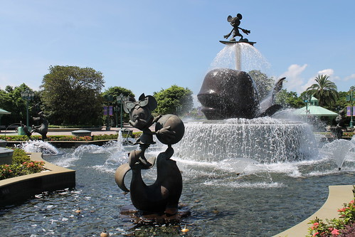 Fountain at Hong Kong Disneyland Entrance