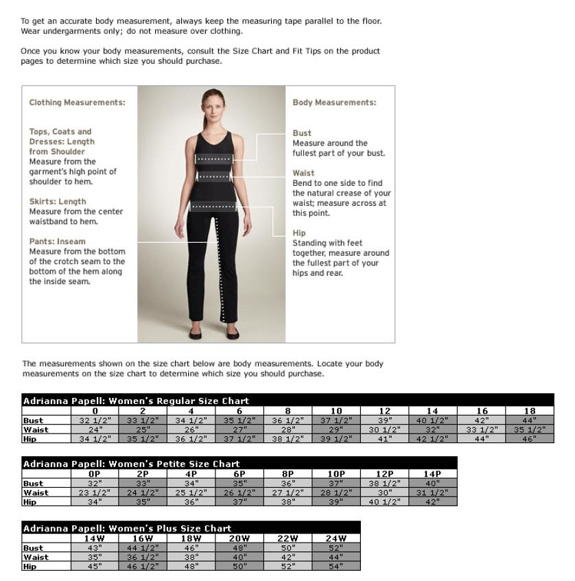 Adrianna papell size chart fashionista5050 flickr
