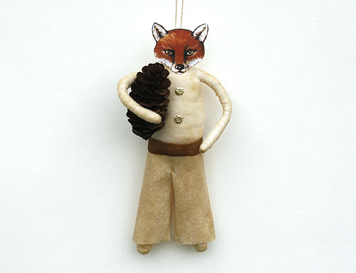 Spun Cotton Fox Ornament | by oldworldprimitives