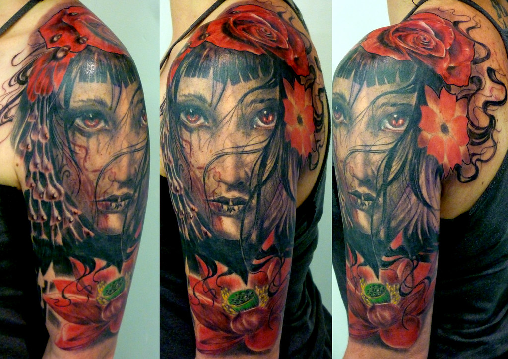 Black and grey colour portrait roses sleeve tattoo by white