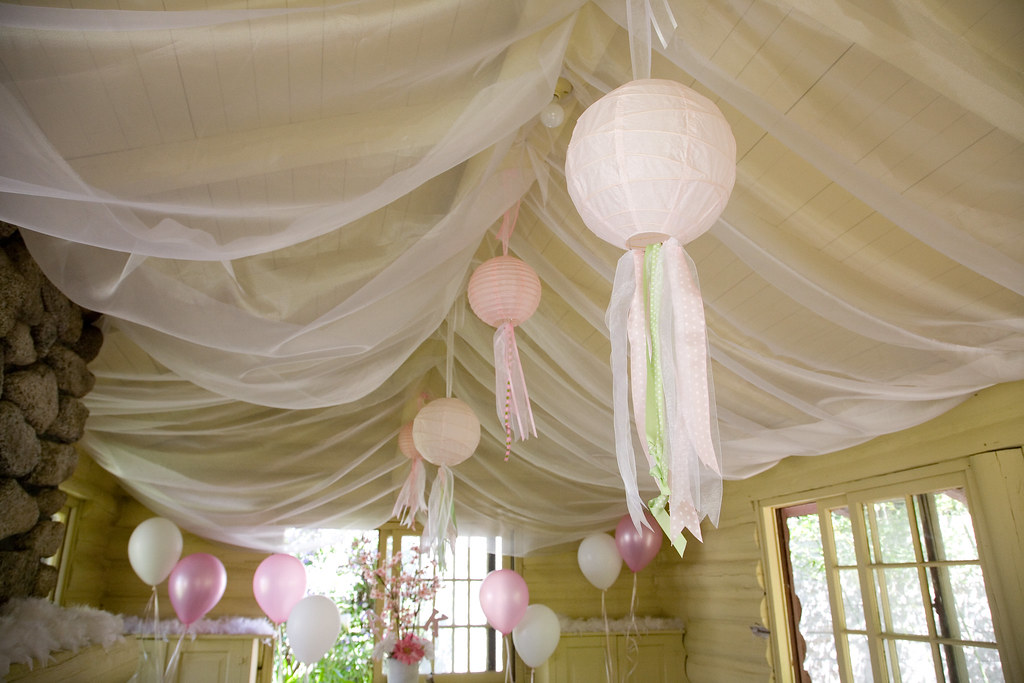 Pink Birthday Party Ceiling Decor