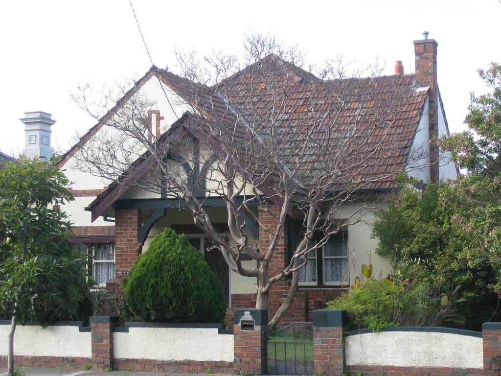A mock tudor style villa ascot vale the facade of a Tudor style fence