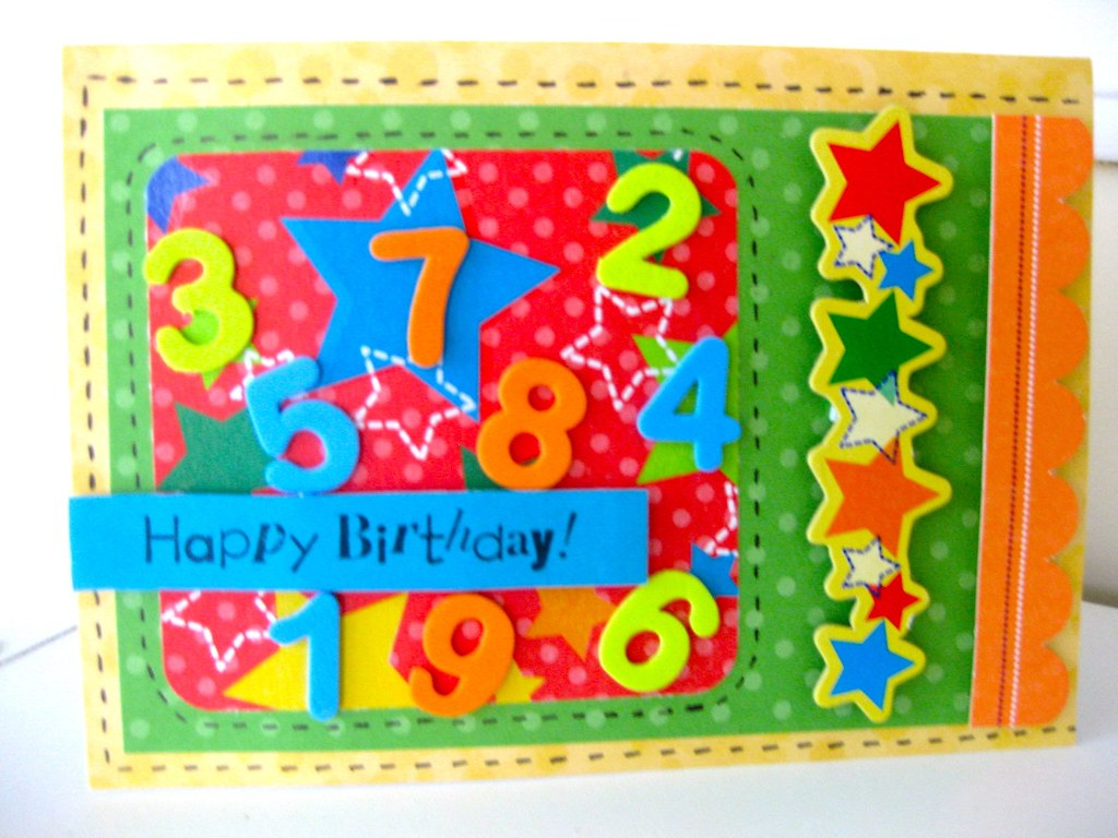 Bright Birthday Card For Kids Bright Multicolored 3d Bir Flickr
