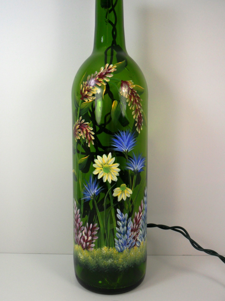 Wine Bottle Painting Designs Lighted wine bottle flower garden design ...