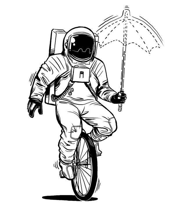 Dan Cruz Astronaut Linework