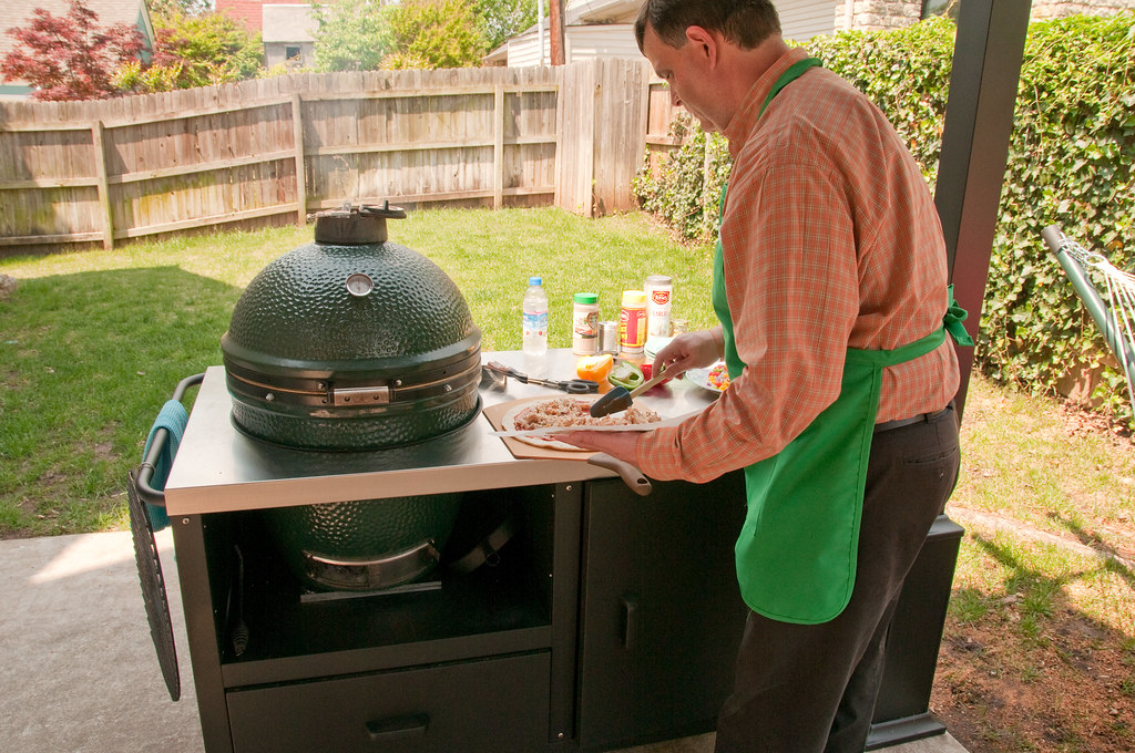 food prep on ceramic grill table for big green egg, primo,… | flickr