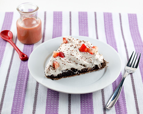 Dark Chocolate Strawberry Silk Tart With Macadamia Almond Crust