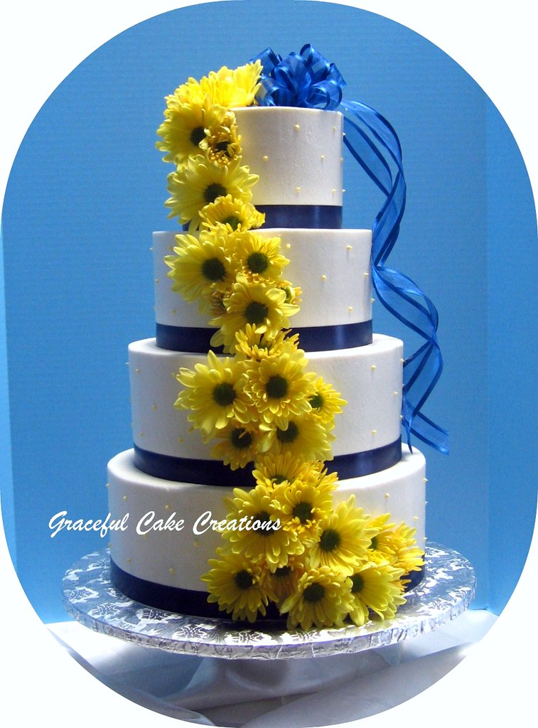 White, Navy Blue and Yellow Wedding Cake | Grace Tari | Flickr