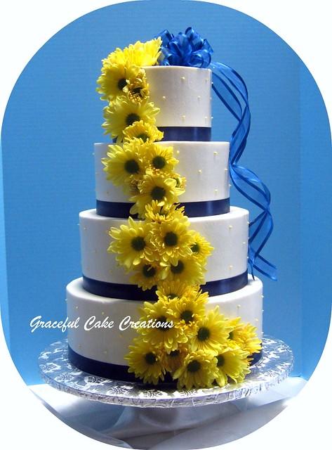 Navy Yellow Wedding Cake