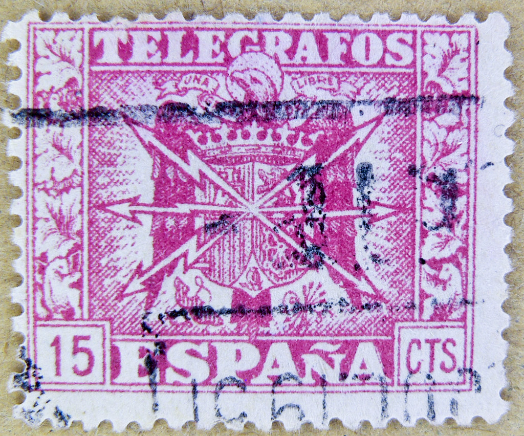 vintage old spanish stamp spain 15 cts  sellos telegrafos