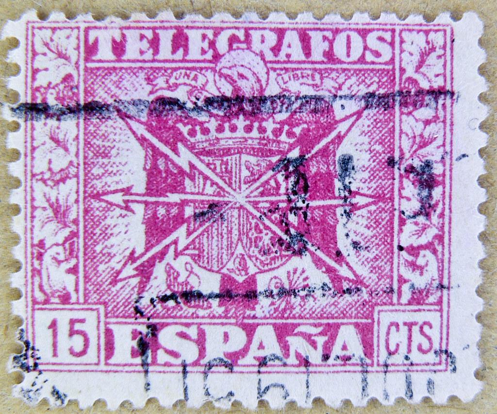 Vintage Old Spanish Stamp Spain 15 Cts Sellos Telegrafos Espana Postage