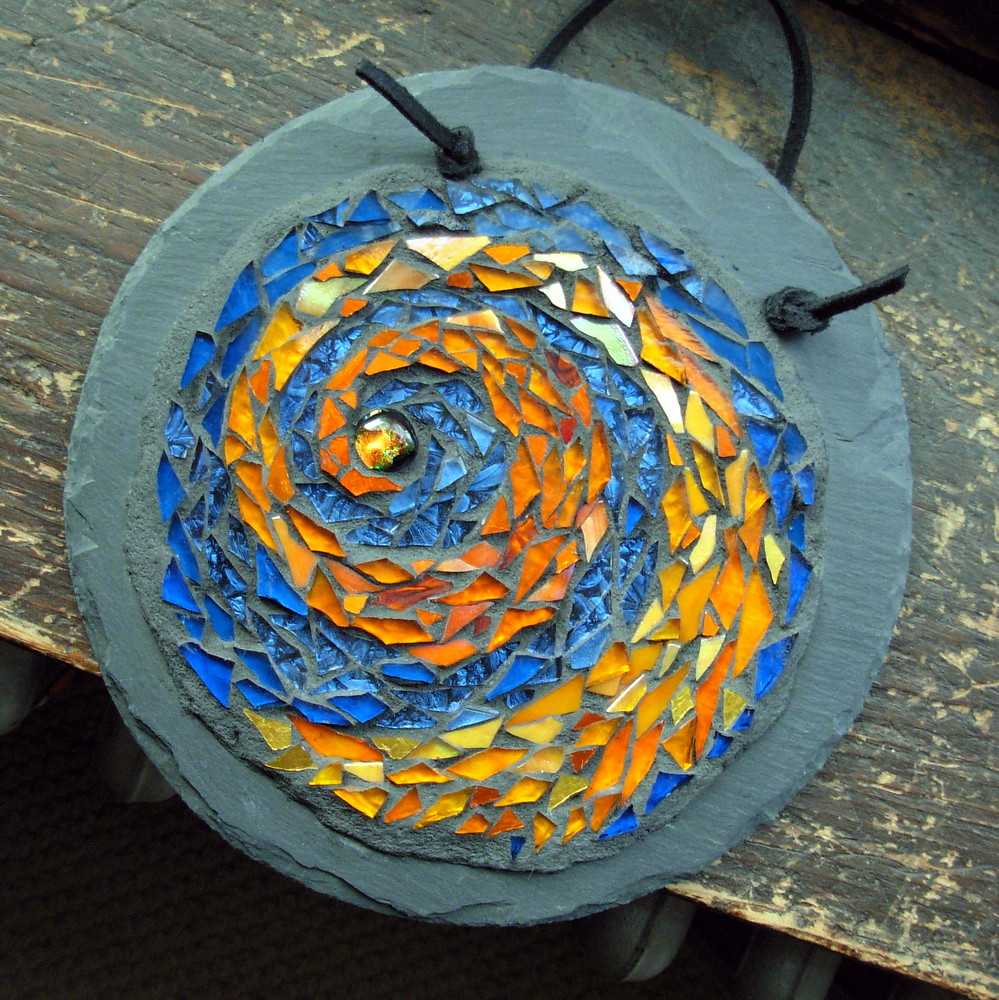 Fire Spiral Mosaic Mandala by Margaret Almon | Glass, gold