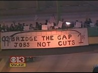 Sign on Occupied Howard Street Bridge | by Aximill