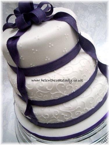 Cadbury Purple Ribbon 3 Tier Wedding Cake