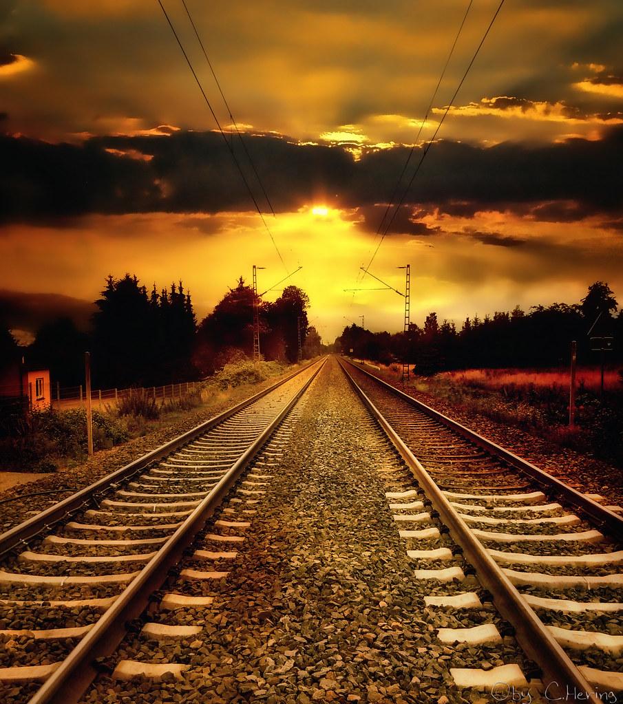 train tracks and orange1 - photo #35