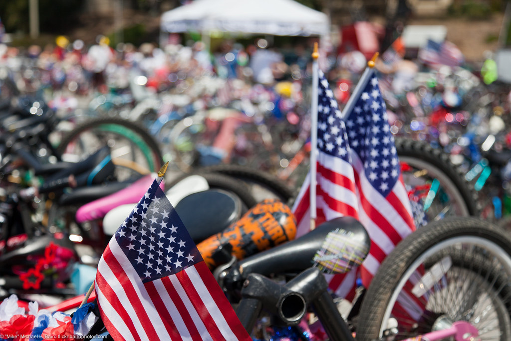 ... Bikes In Valet Storage After Bike Parade. People At Morro Bay, CA  Fourth Of
