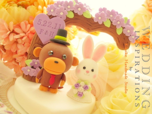 Wedding Cake Topper-love monkey and rabbit with flower tre… | Flickr