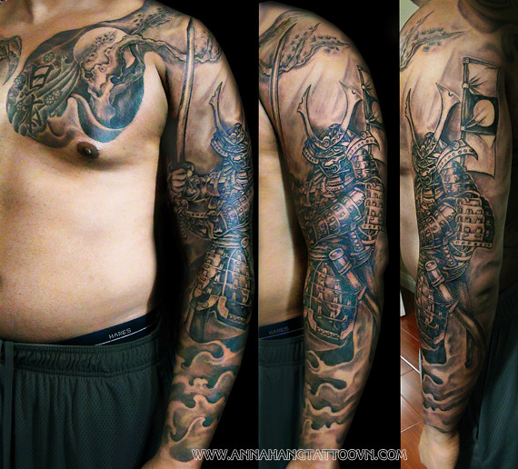 tattoo design samurai full arm annahangtattoo flickr. Black Bedroom Furniture Sets. Home Design Ideas