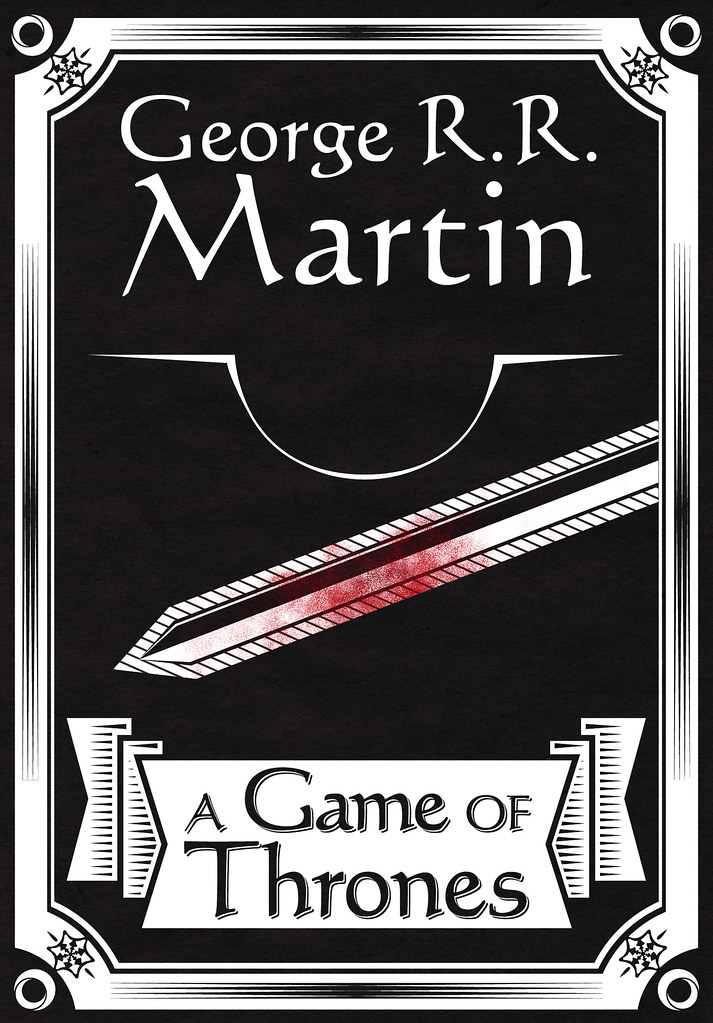 Book Cover Graphism Game ~ A game of thrones minimalist vintage book cover design