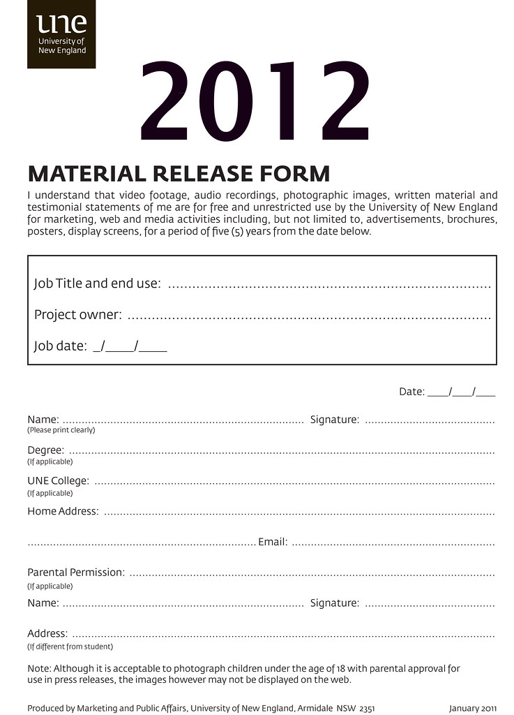 Material Release Form  University Of New England Image