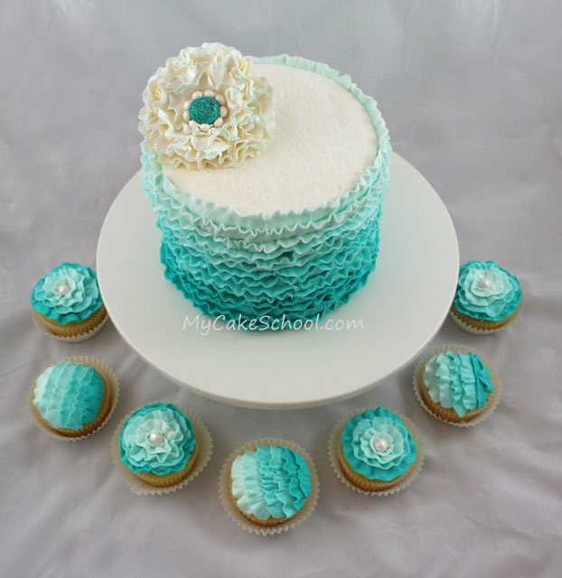 Teal Buttercream Ruffles Here S A Cake From A Recent