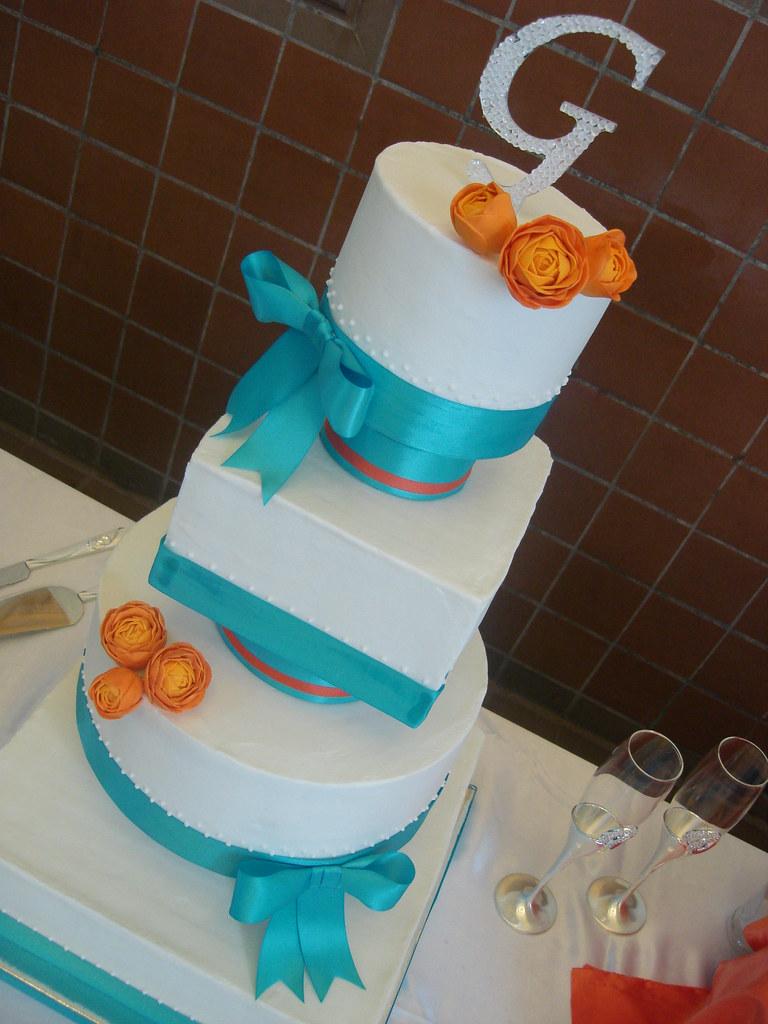 turquoise orange wedding cake multi shaped wedding cake flickr. Black Bedroom Furniture Sets. Home Design Ideas