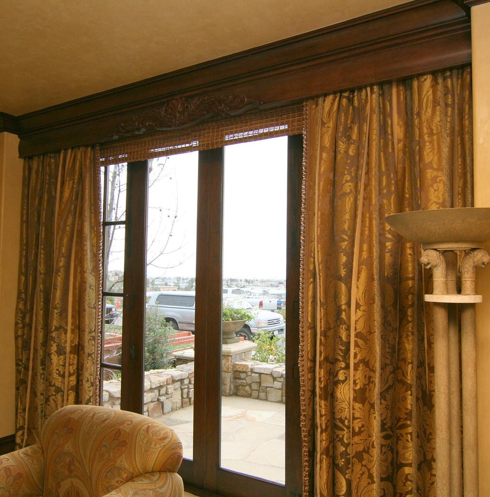 White Wood Cornice : Elegant curtains under custom wood cornice