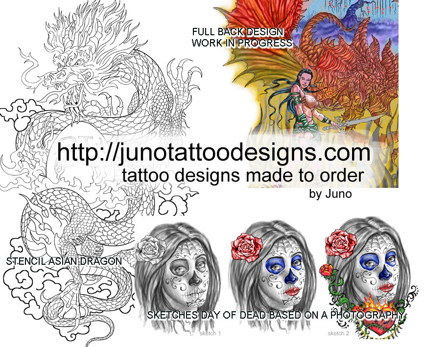 day of dead asian dragon full back tattoo designs by juno flickr