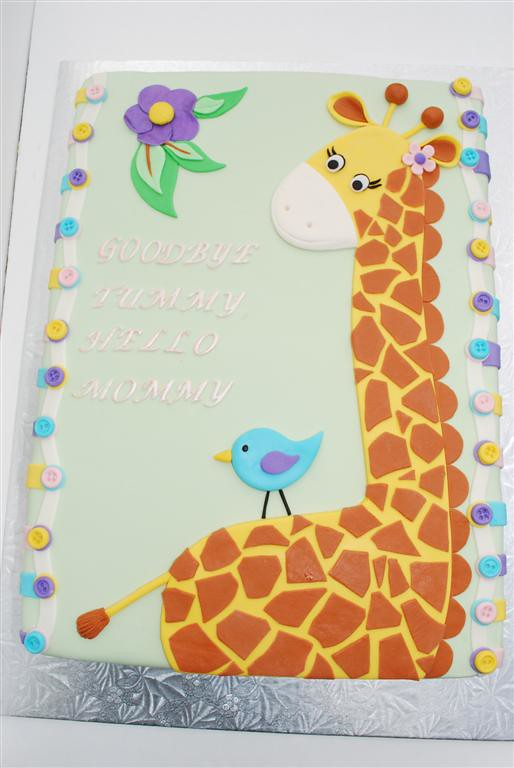 Momma Giraffe Giraffe Theme Baby Shower Sheet Cake