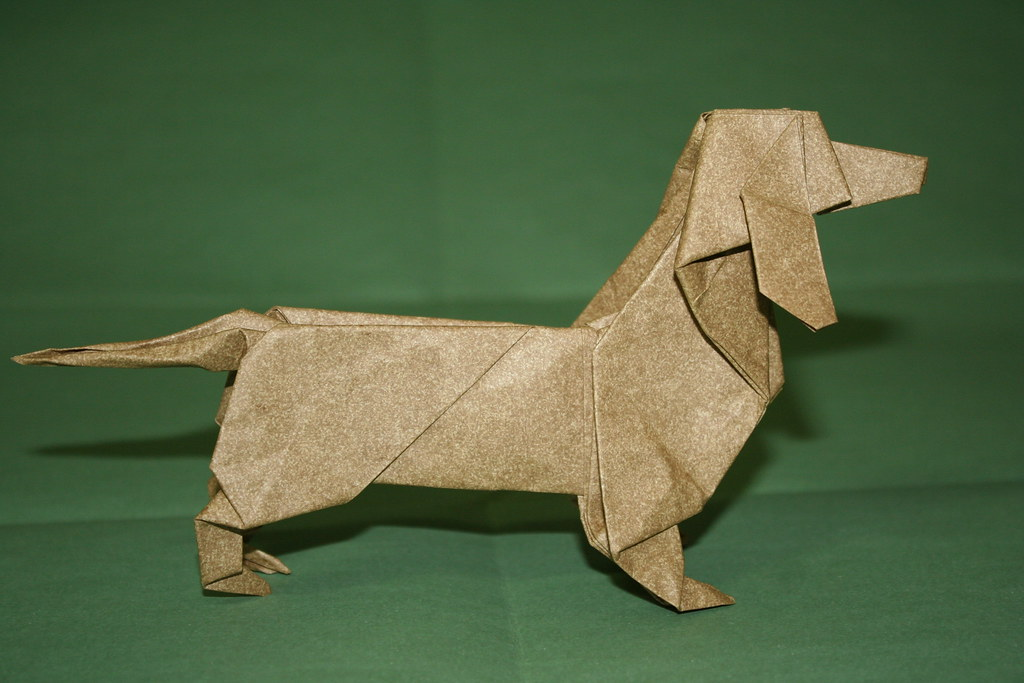 origami dachshund folded from a single uncut square of