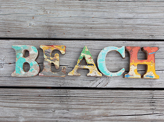 Wooden Coastal Decor: BEACH SIGN Vintage Nautical Wooden Letters Set By SEASTYLE