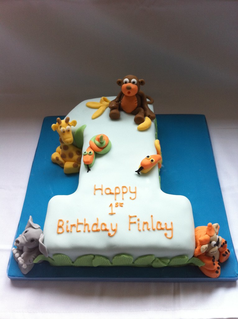 Boys 1st Birthday Cake Jungle Animals Tracy Yapp Flickr