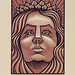 "Art Deco Hera - 2 Color Reduction Linocut - 5""x7"""