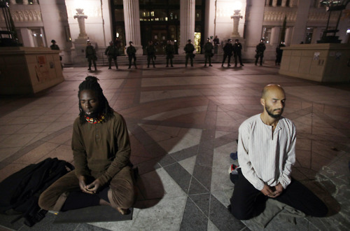 Meditators at Occupy Oakland before raid | by albill