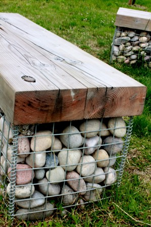 Double Gabion Basket Seats A Gabion Basket Filled With