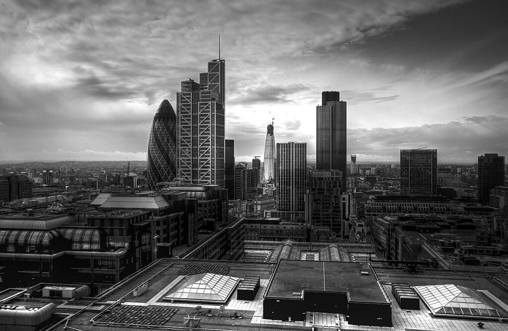 City of London skyline from Bishopsgate Tower | Taken on ...  London Skyline Black And White
