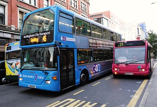 Nottingham City Transport ... routes are colour coded, so 45 to Gedling is - sky blue!