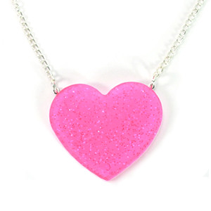hot pink glitter heart necklace   giant glitter heart