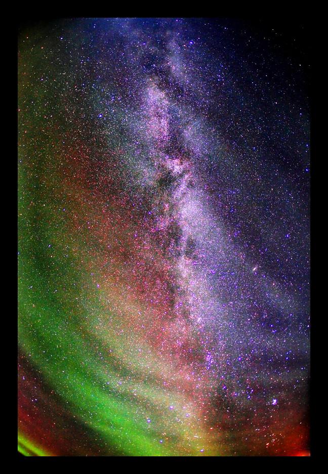 aurora borealis and milky way and galaxy andromeda m31