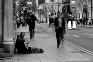 Busker And Dog Entertain The Faceless Masses | by SparklesDarkly
