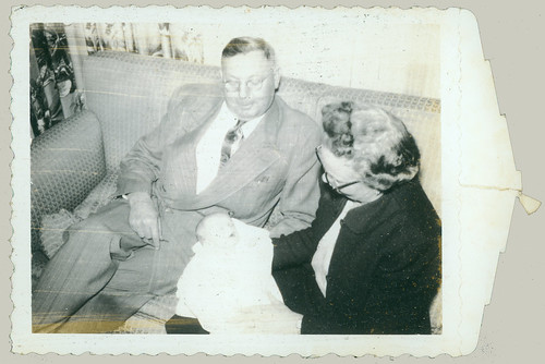 Polaroid Grand parents with baby