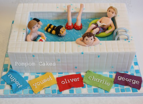 Swimming Pool Cake For 5 Boys Sharing A Party At Our Local Flickr