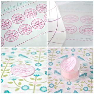 Hand-made strawberry lip balm labels- steps 1-4 | by toriejayne