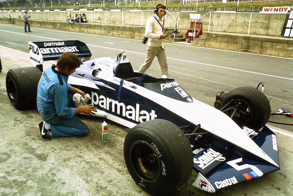 Brabham Bt52 Of Nelson Piquet In Pits During Tyre Testing