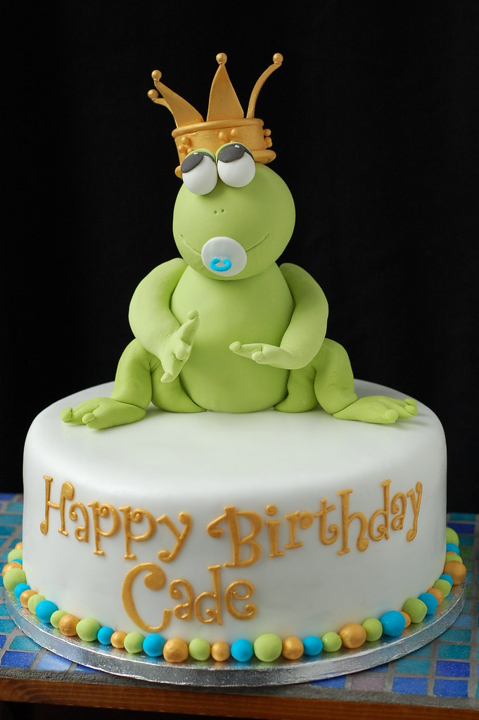 Cades Frog Prince Birthday cake front Based on design b Flickr